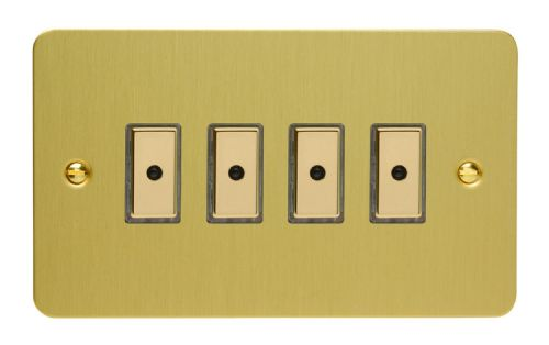 Varilight JFBE104 Ultraflat Brushed Brass 4 Gang V-Pro Remote/Touch Master LED Dimmer 0-100W